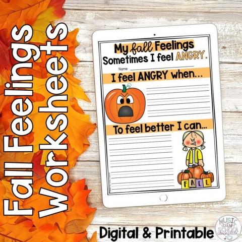 Fall Autumn Feelings Emotions Coping Skills Digital Printable Worksheets